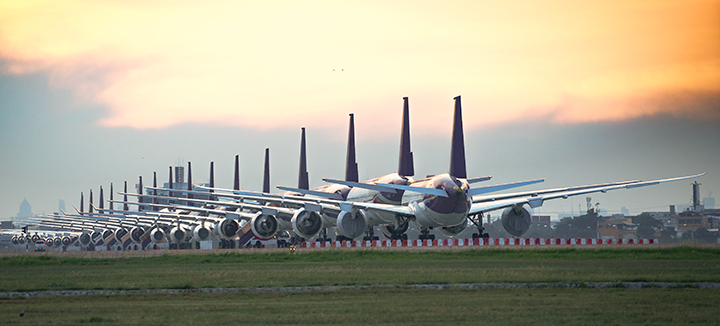row of planes in storage